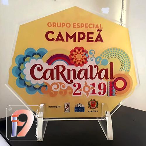 Troféu em Acrílico Carnaval Curitiba 2019